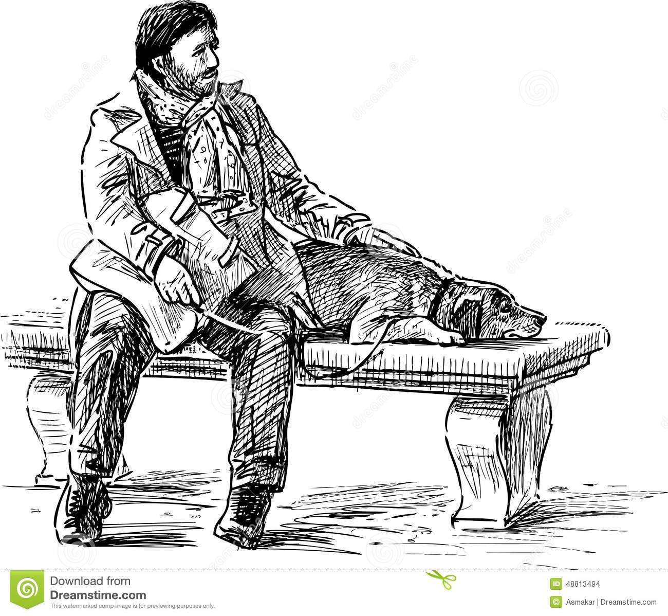 Man With A Dog On A Park Bench Stock Vector