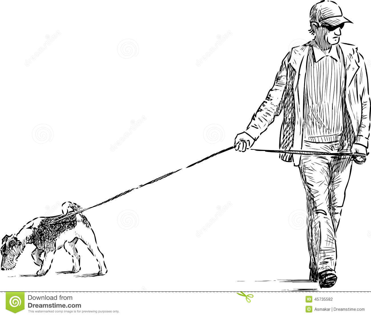 Man And Dog On A Walk Stock Vector