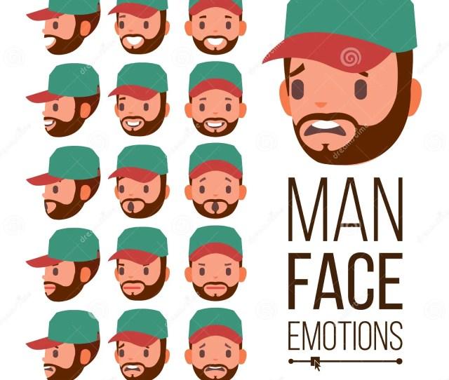 Man Emotions Vector Handsome Face Man Cute Joy Laughter Sorrow Human Psychological Portraits Flat Cartoon Illustration