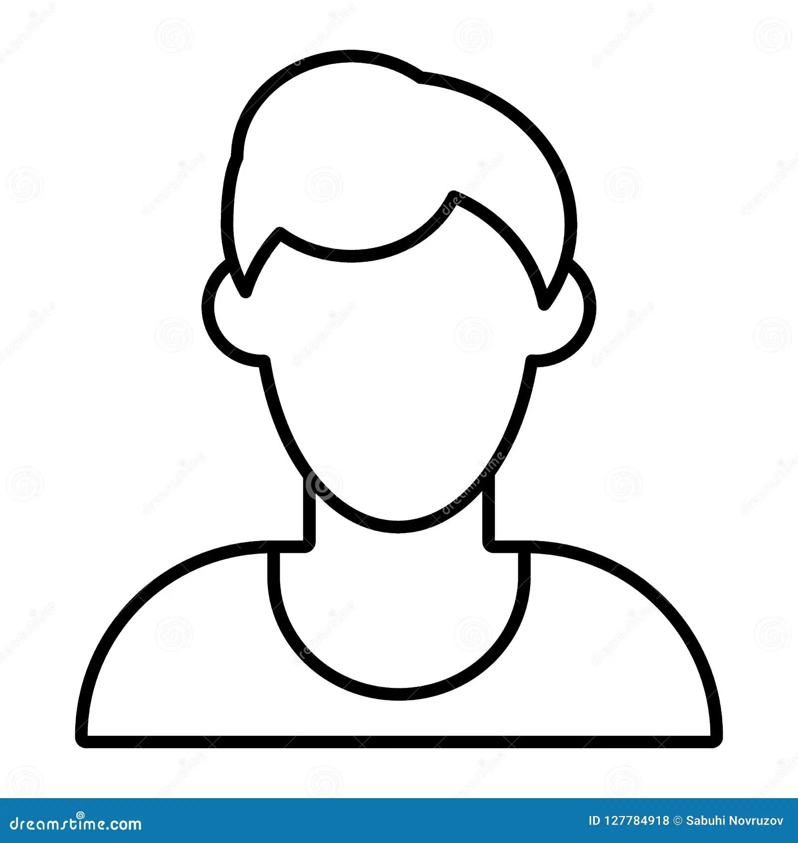 Man Faceless Avatar Thin Line Icon Default Profile Vector