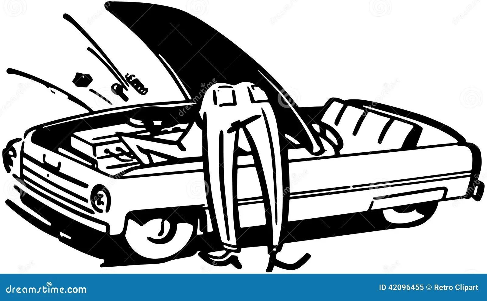 Man Fixing Car Stock Vector Illustration Of