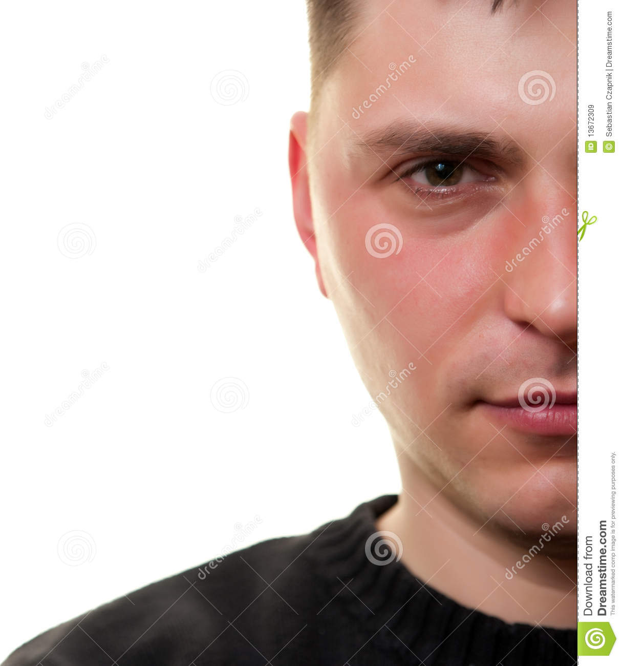 Man Half Face White Royalty Free Stock Images