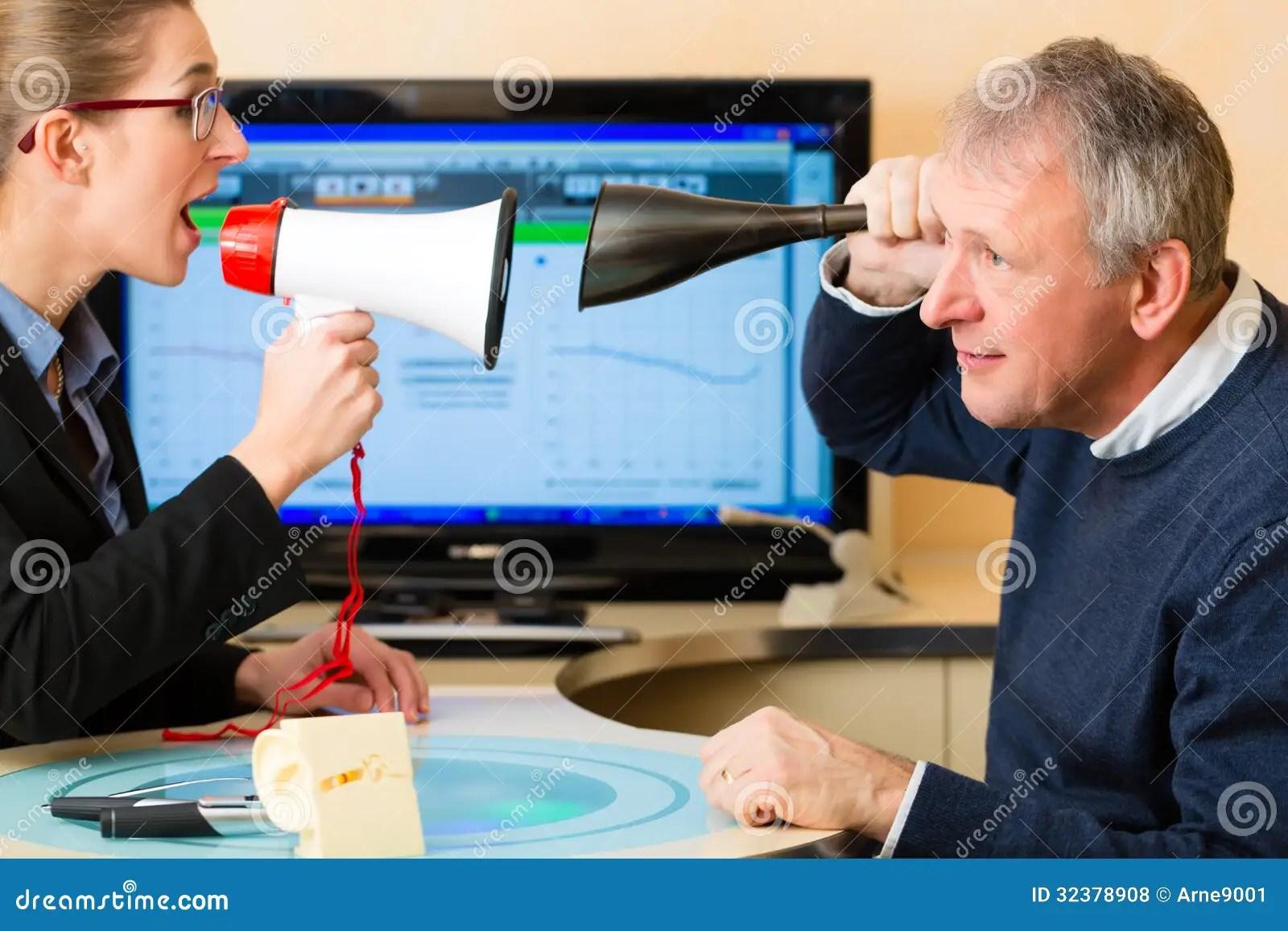 Man At Hearing Acoustician Should Take Test Royalty Free Stock Photos