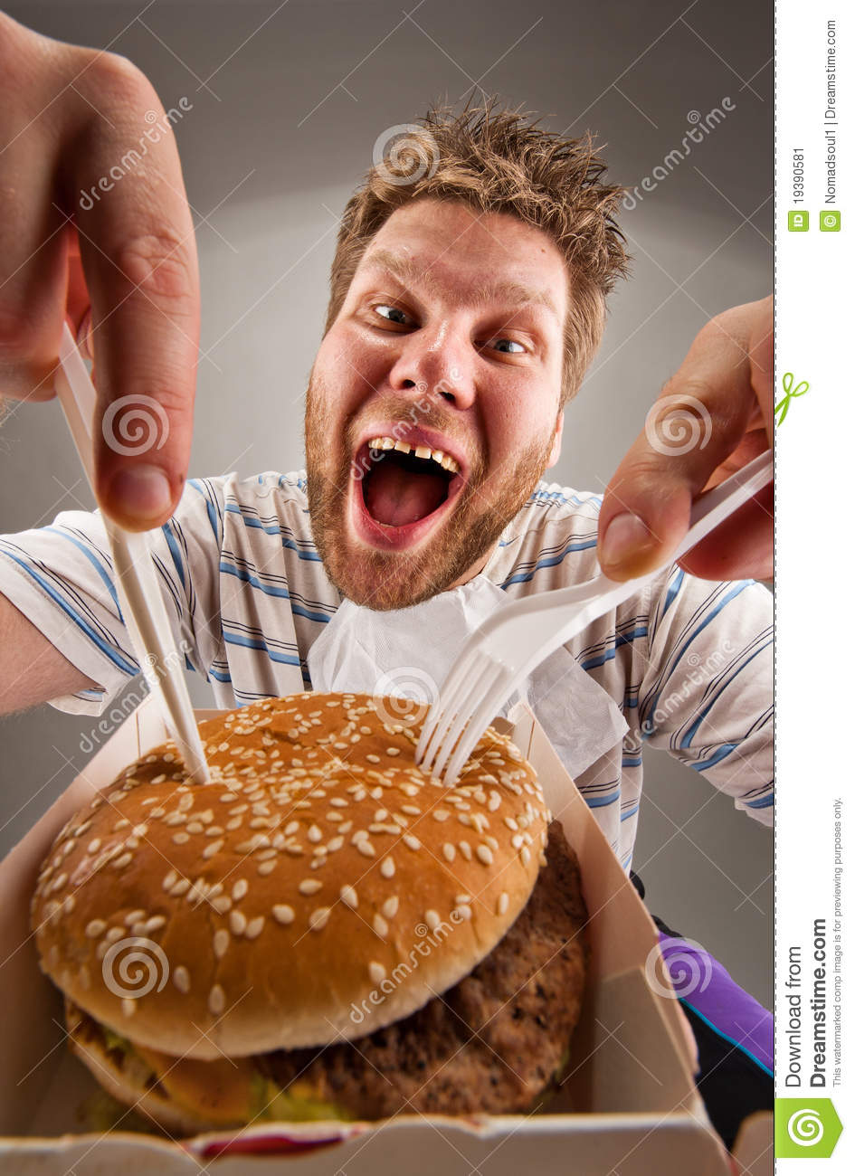 Burger Guy Fat Eating Happy