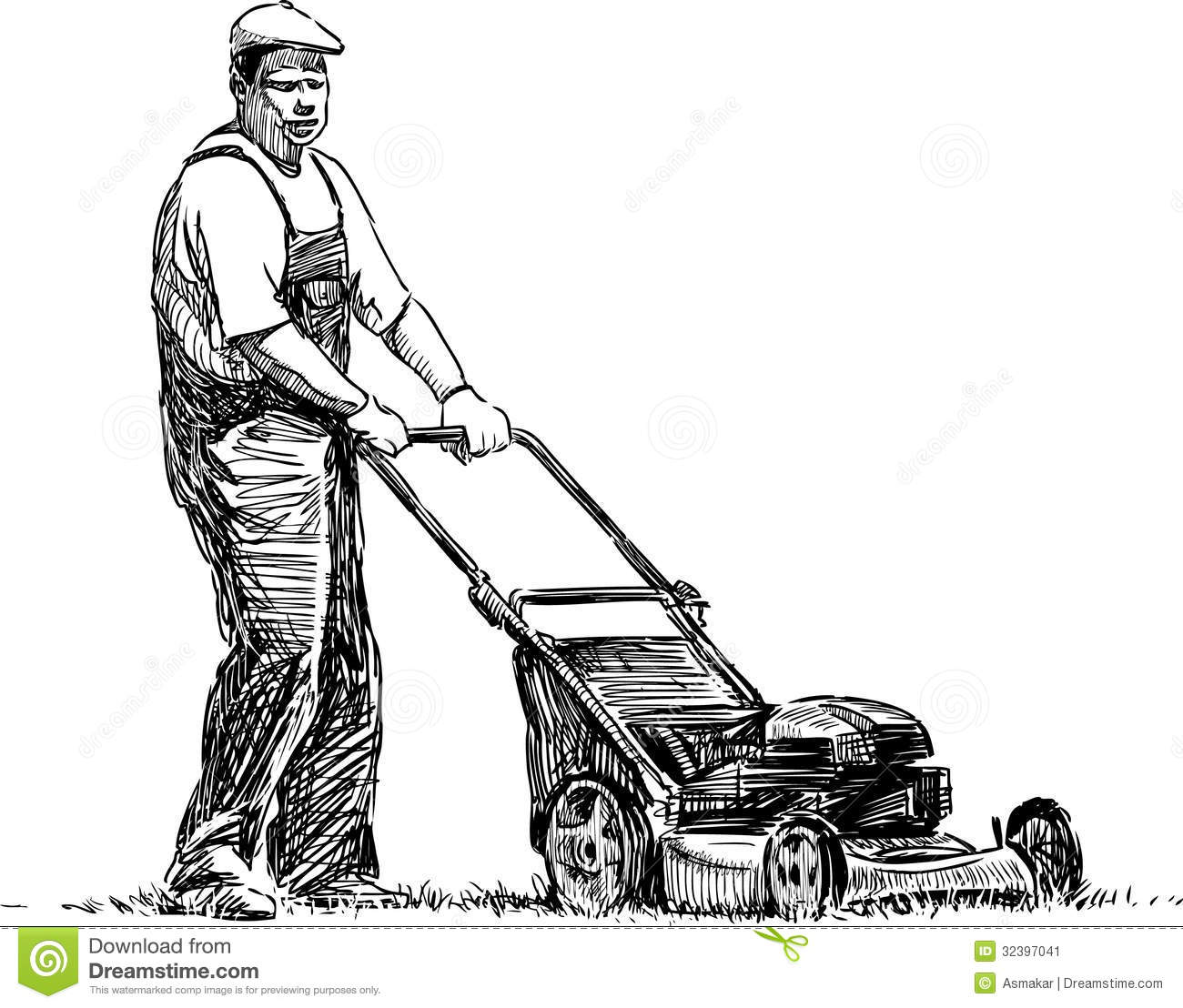 Man With Lawn Mower Stock Image Image Of Driving Summer
