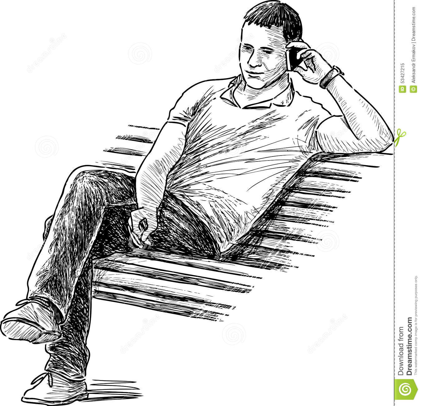 Man On A Park Bench Stock Vector Illustration Of Mobile