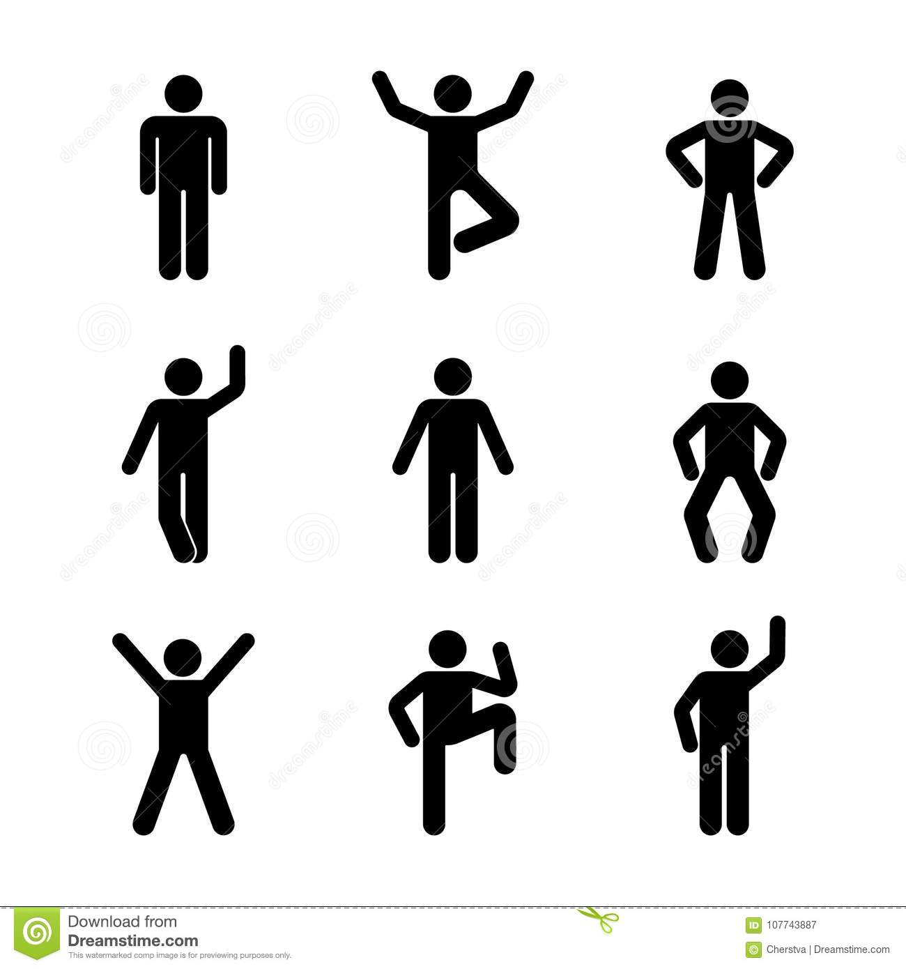 Man People Various Standing Position Posture Stick Figure