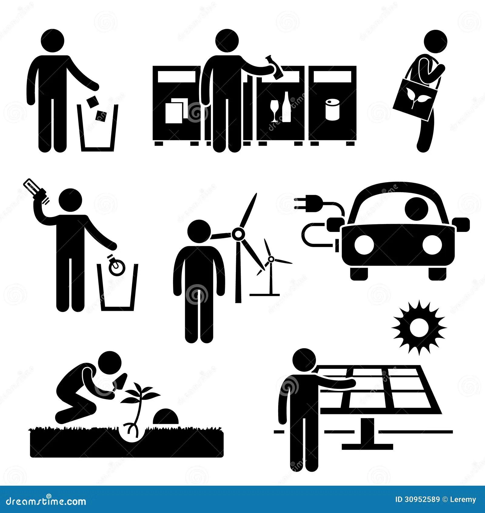 Man Recycle Green Environment Energy Saving Pictog Royalty