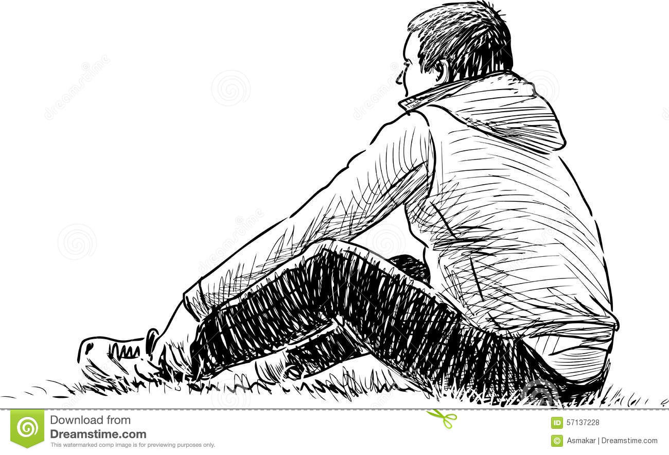 Man Resting On The Grass Stock Vector