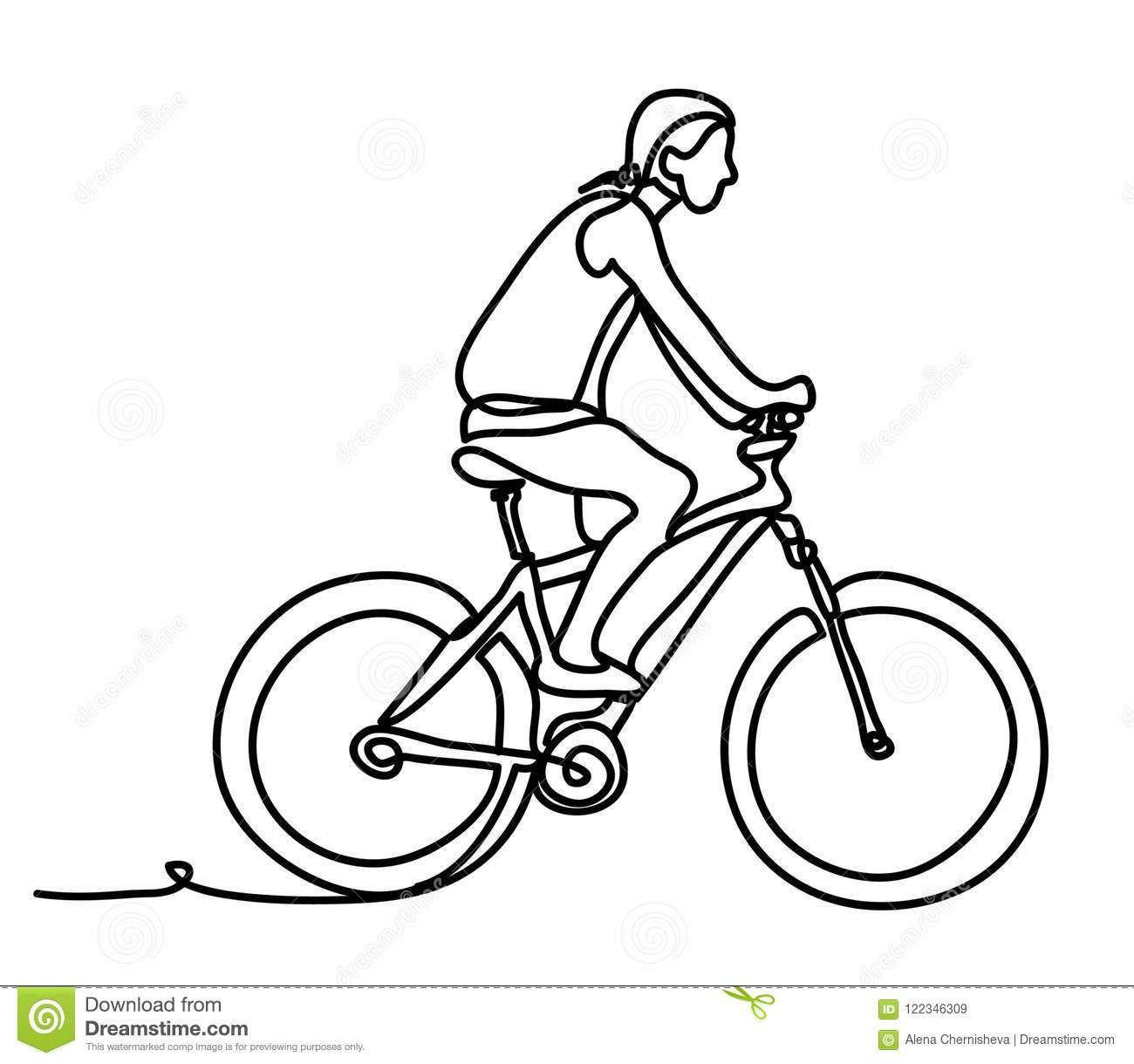 Man Riding A Bicycle Outside Concentrated Young Guy Using