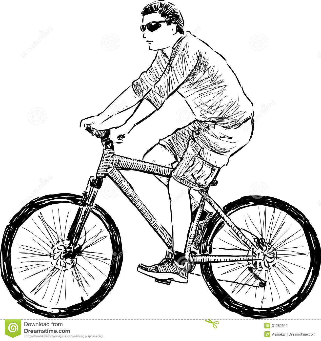 Man Riding A Cycle Stock Vector Illustration Of Side