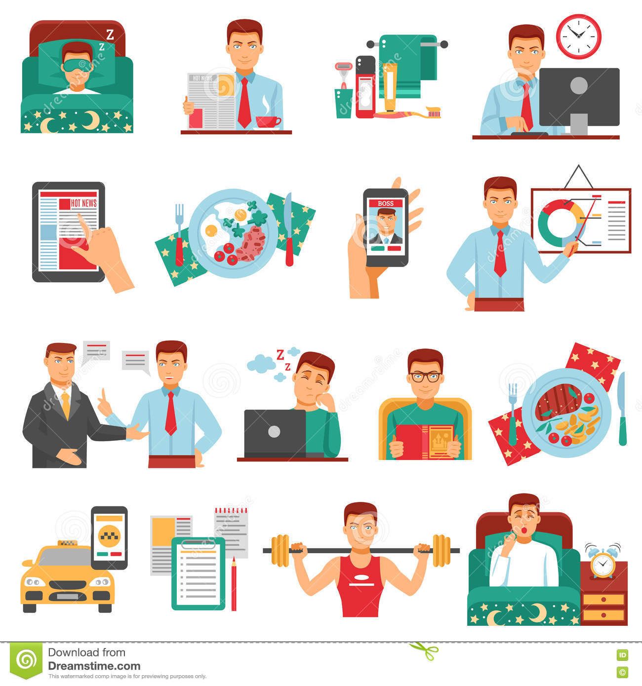 Man Daily Routine Icon Set Stock Vector Illustration Of
