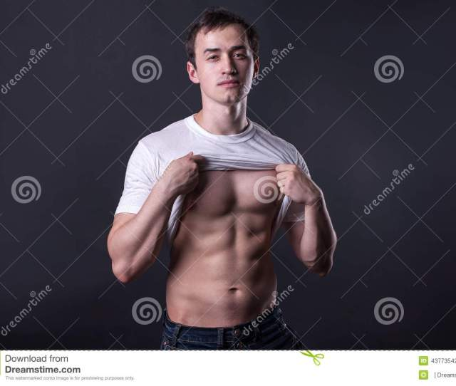 Strong Nacked Man In White T Shirt Stock Photography