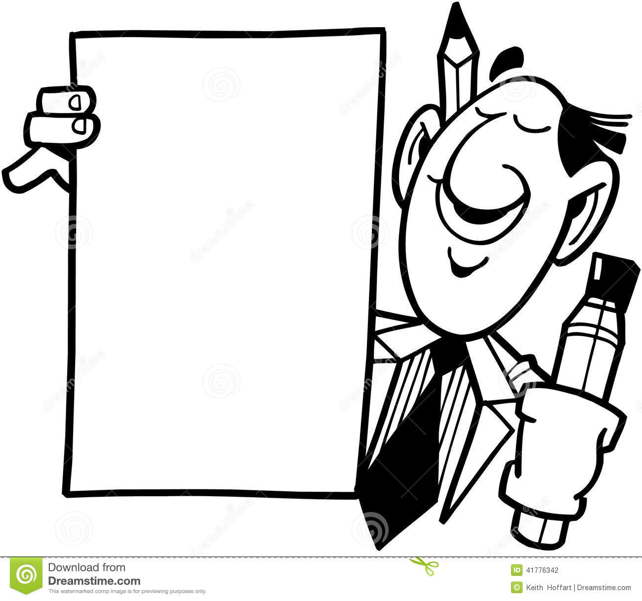 Man With Sign Template Cartoon Vector Clipart Stock Vector