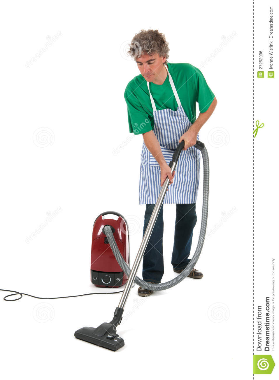 Man With Vacuum Cleaner Stock Photo Image Of Isolated