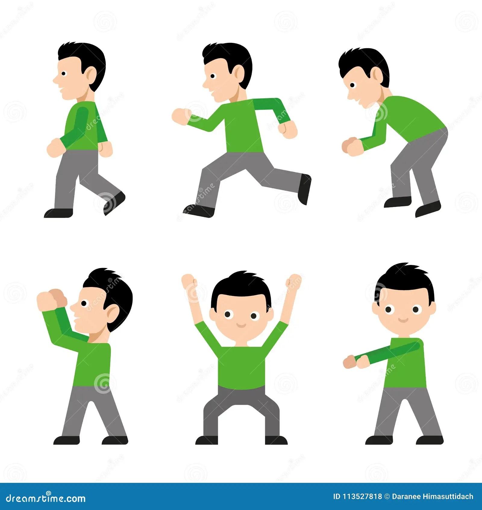 Man Walk Run Jump Action Character Active Fitness Exercise