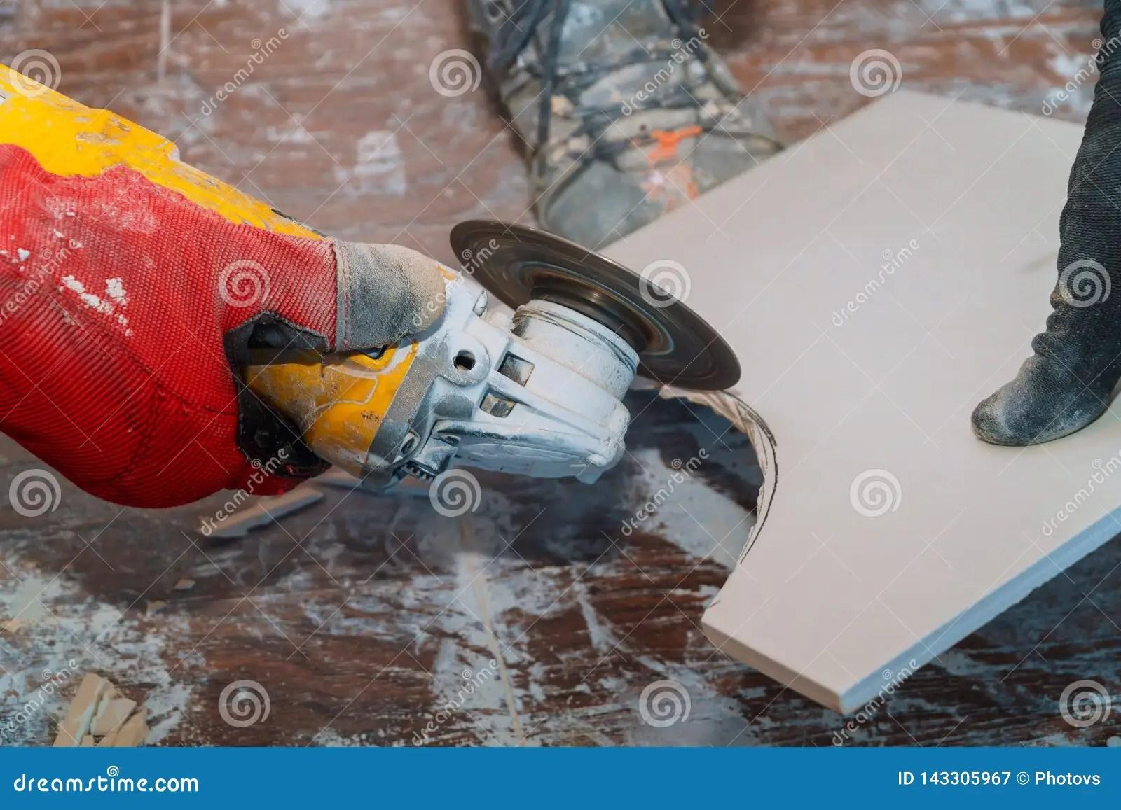 https www dreamstime com man worker cutting tile circular saw using grinder image143305967
