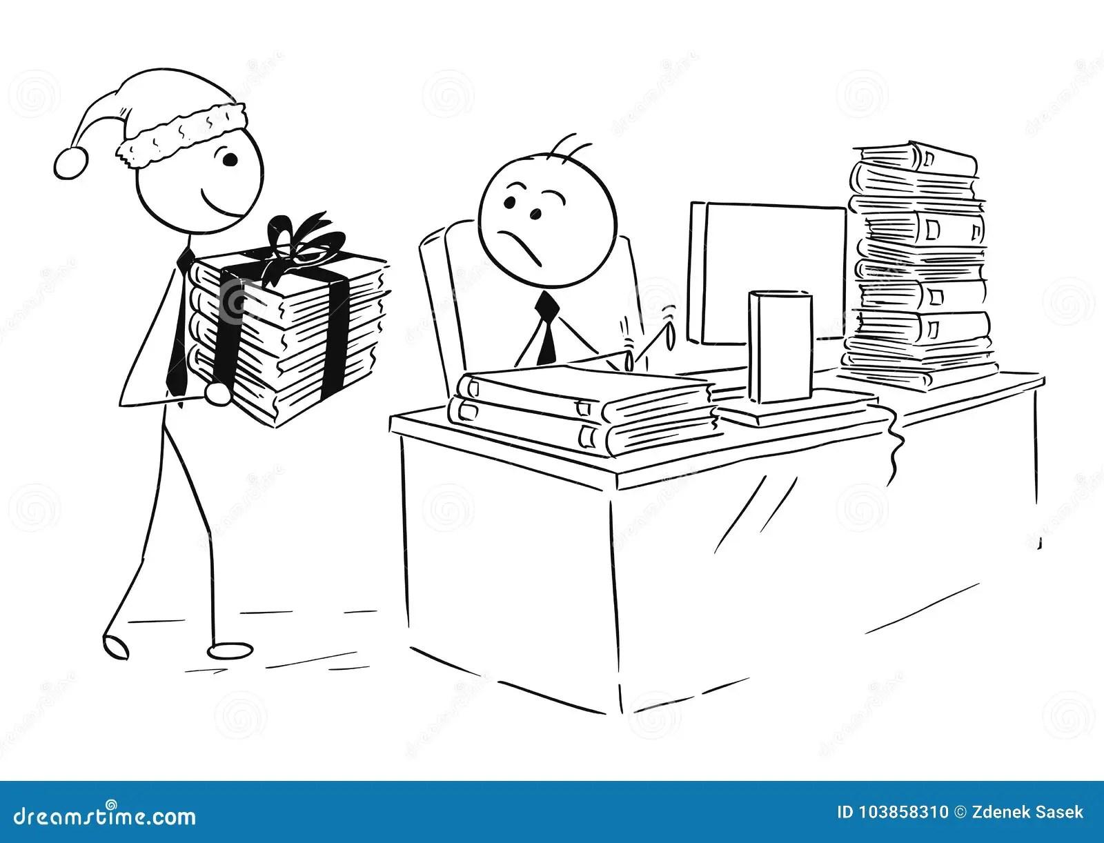 working at computer cartoon