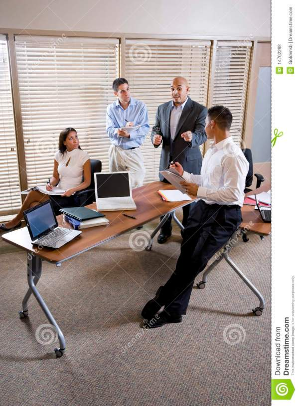 Manager Meeting With Office Workers Directing Royalty