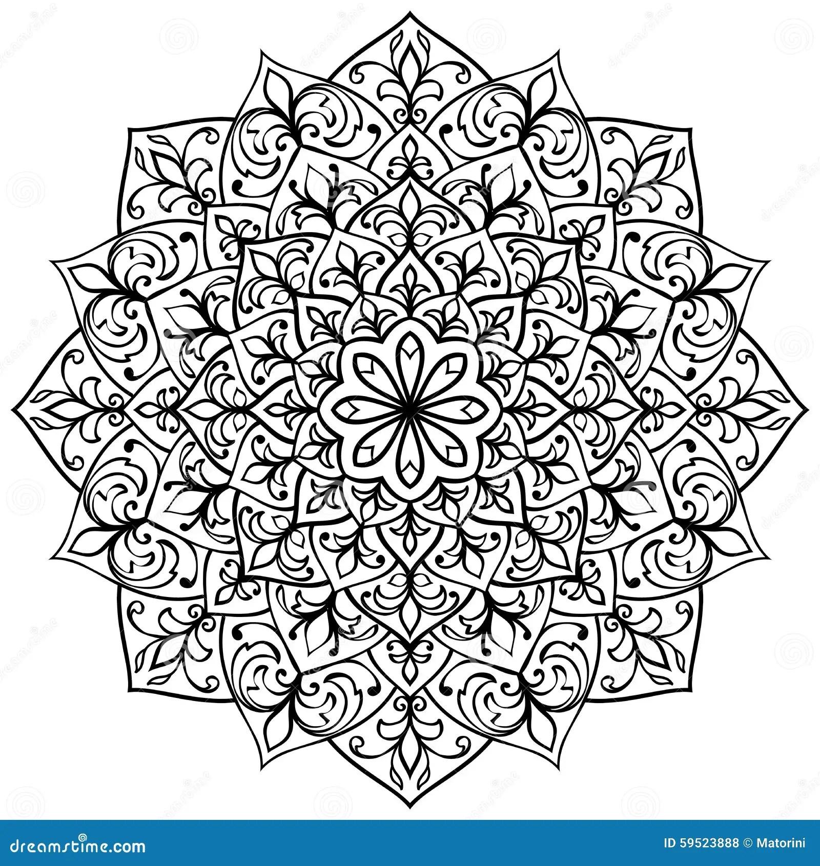 Mandala With Black Contour Stock Vector Illustration Of