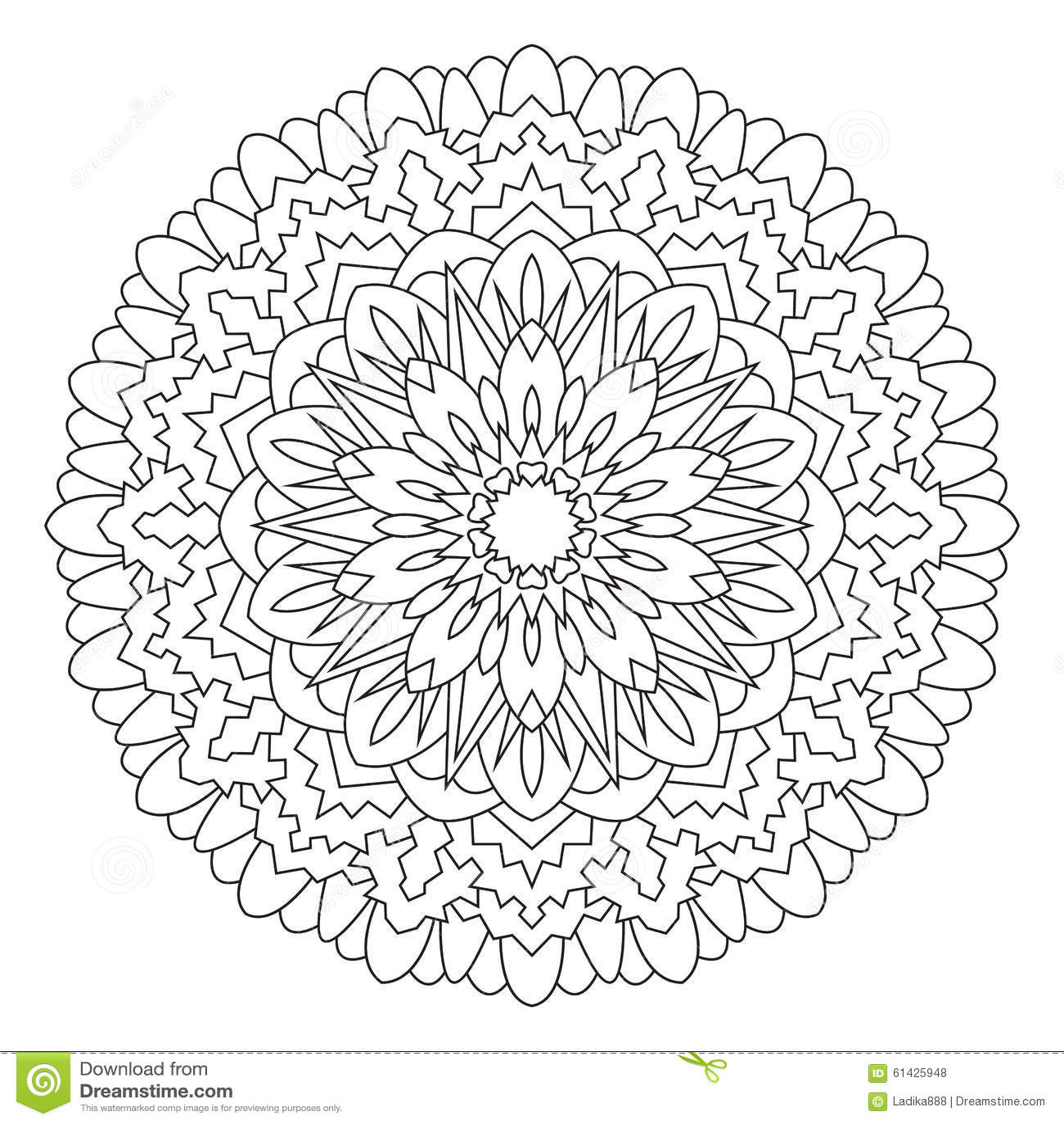 Mandala Fr Das Malen Und Die Frbung Stockfoto Bild