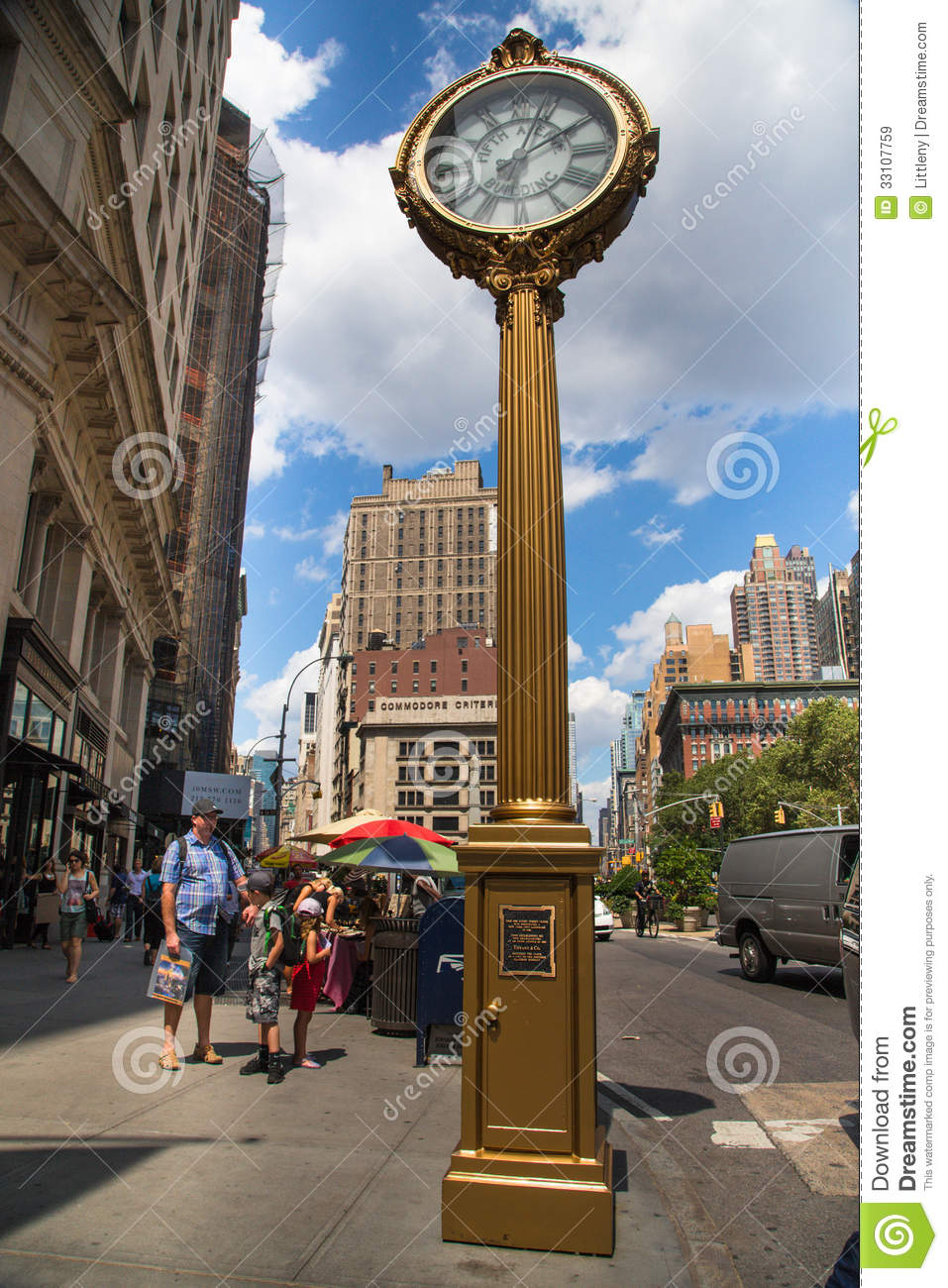 Manhattan Sidewalk Clock Editorial Stock Image Image Of