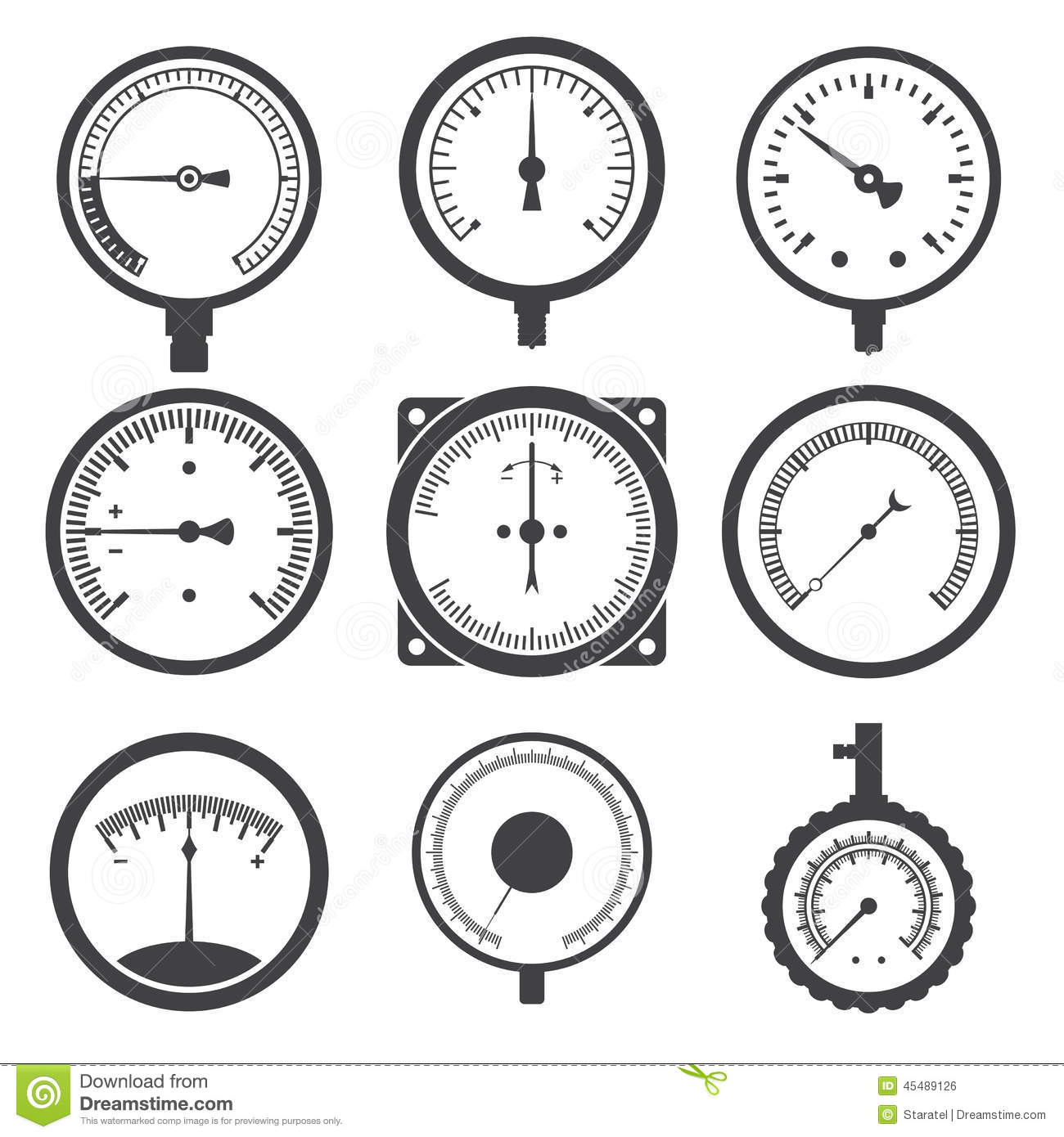 Manometer Pressure Gauge And Vacuum Gauge Icons Stock