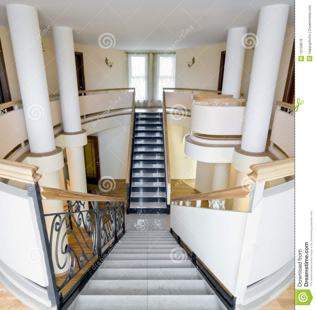 Mansion Interior With Staircase And Balcony Royalty Free