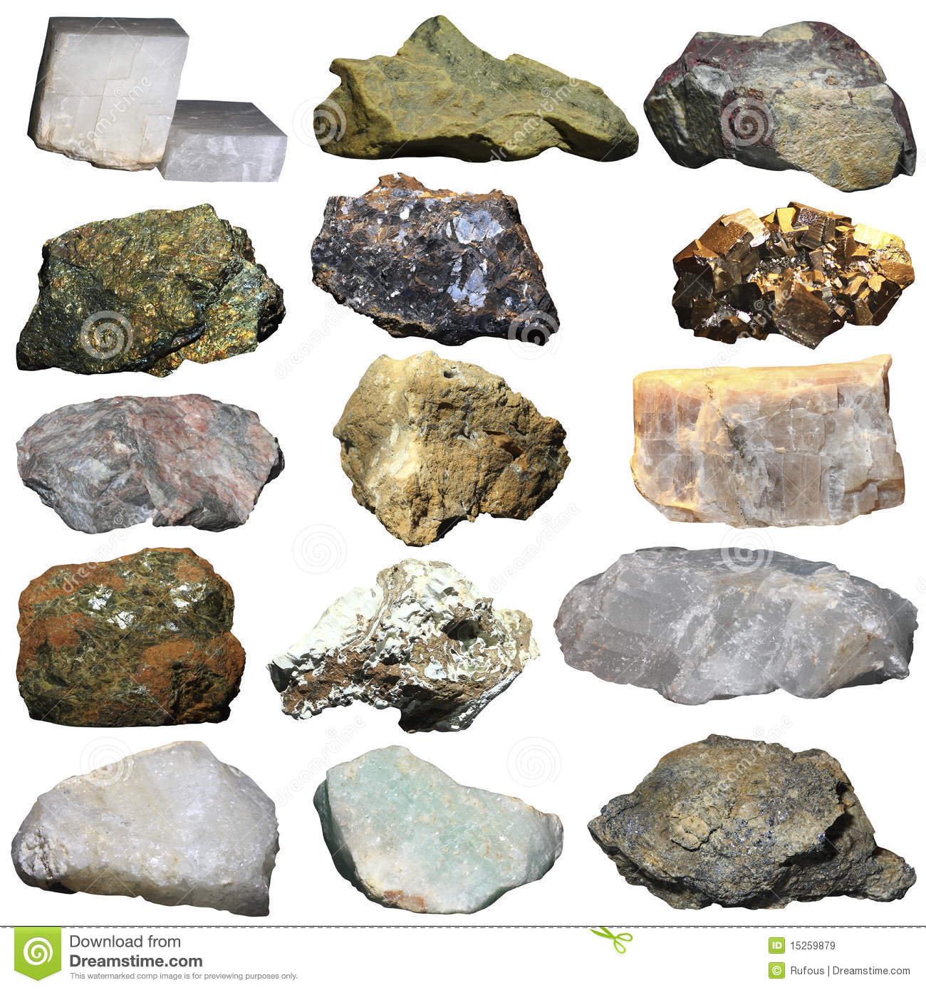 Many Minerals On A White Background Stock Image