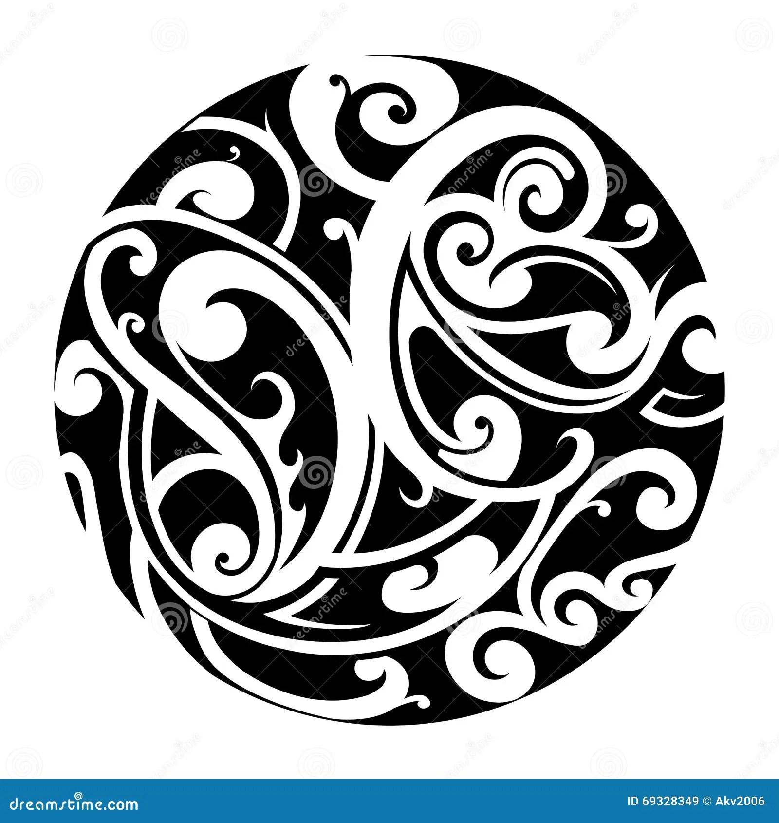 Maori Kreistatowierung Vektor Abbildung Illustration Von
