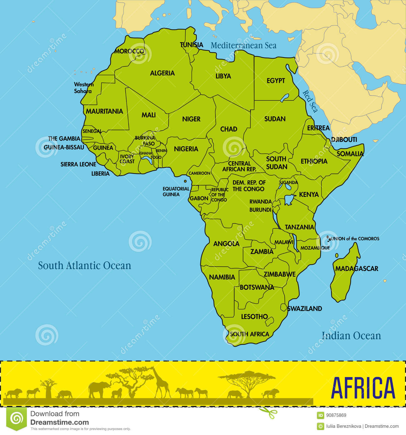 Map Of Africa With Capitals Design Templates