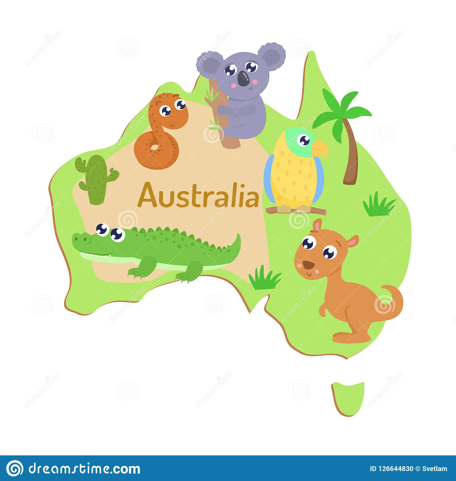 Map Of Australia With Cartoon Animals For Kids Stock