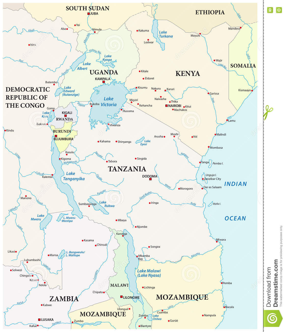 Map Of The Great African Lakes Stock Vector