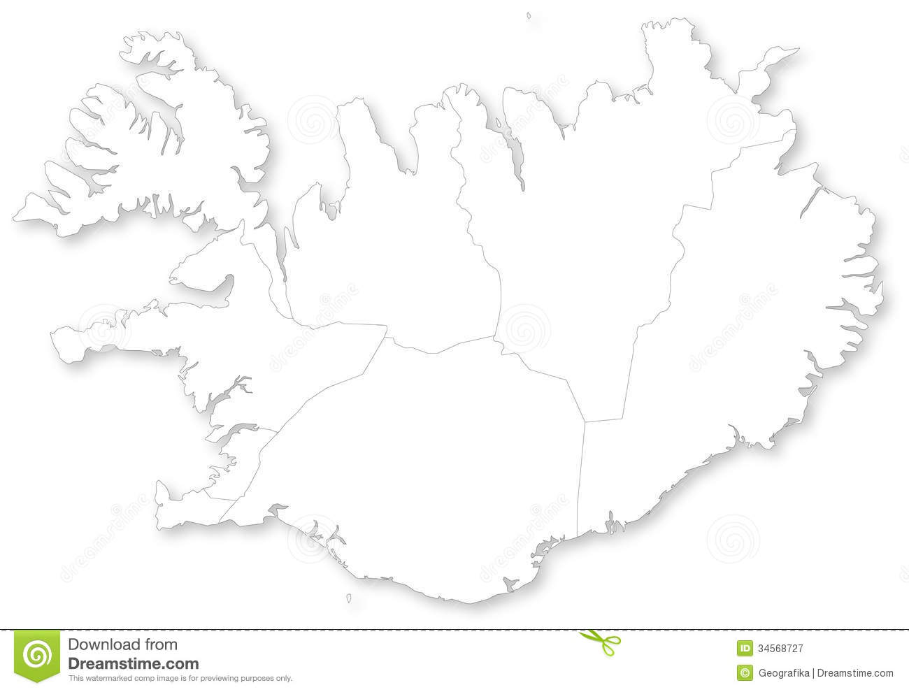 Map Of Iceland With Regions Stock Vector