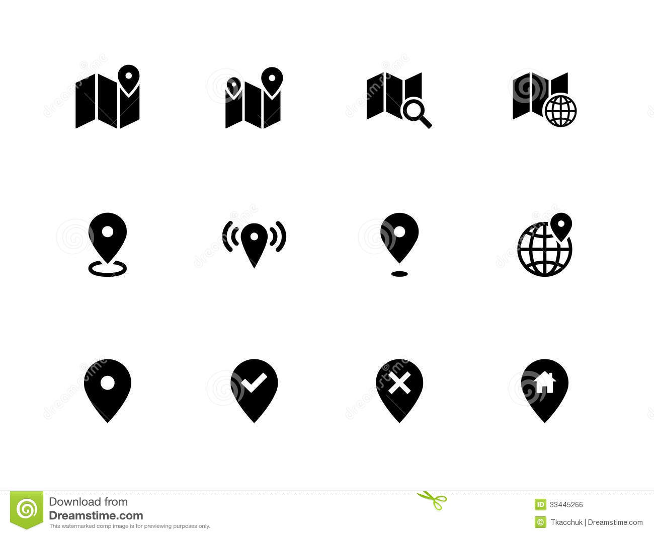 Map Icons On White Background Gps And Navigation Stock