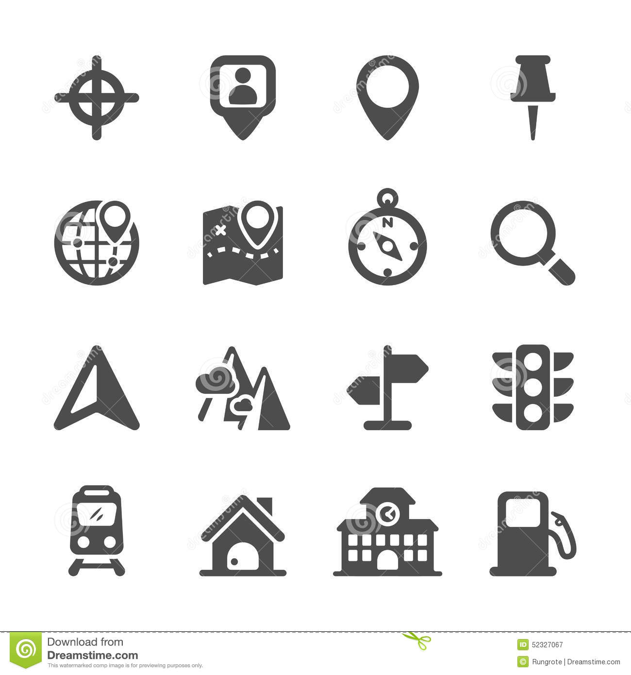 Map Location Icon Set Vector Eps10 Stock Vector