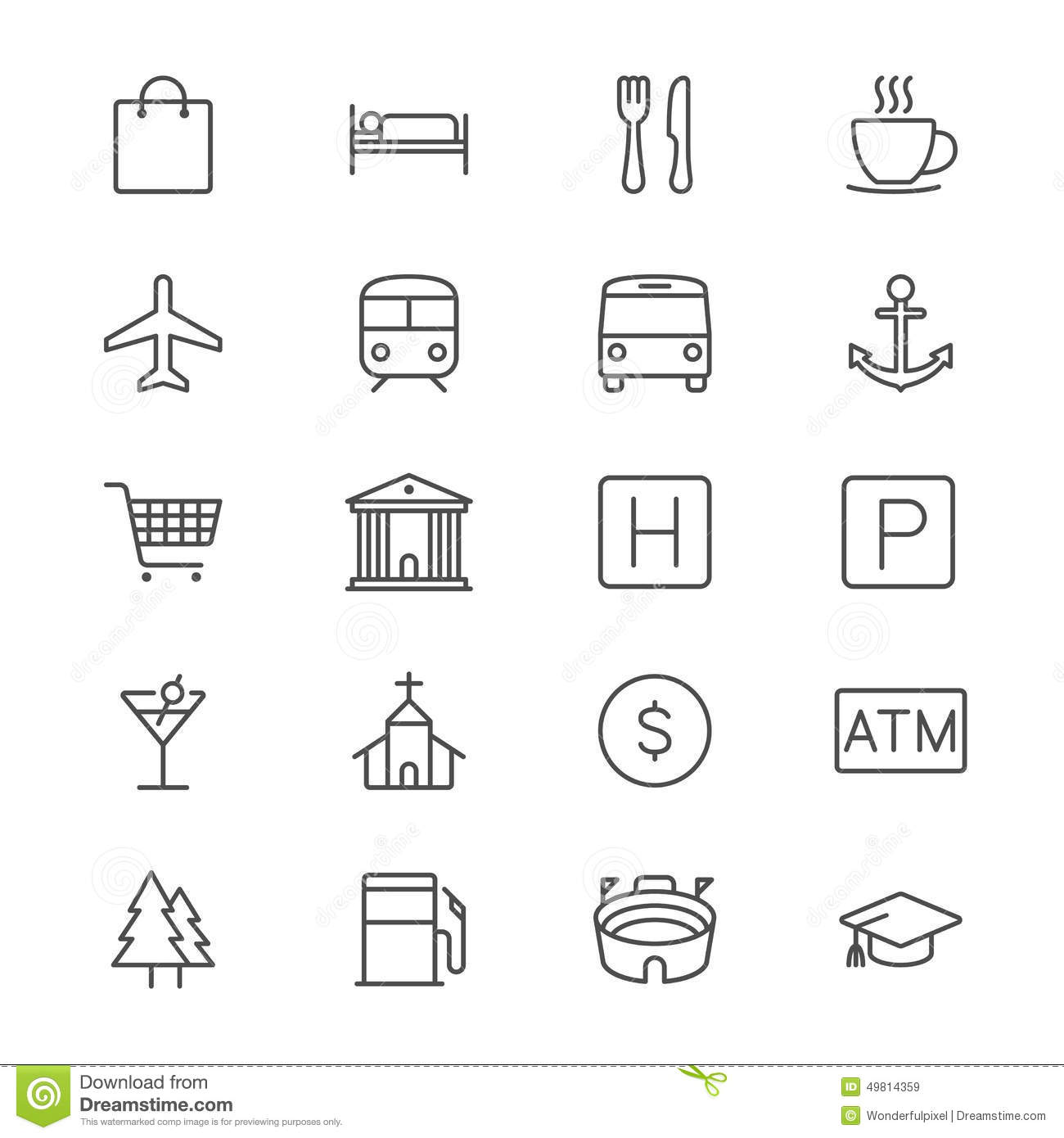 Map And Location Thin Icons Stock Vector