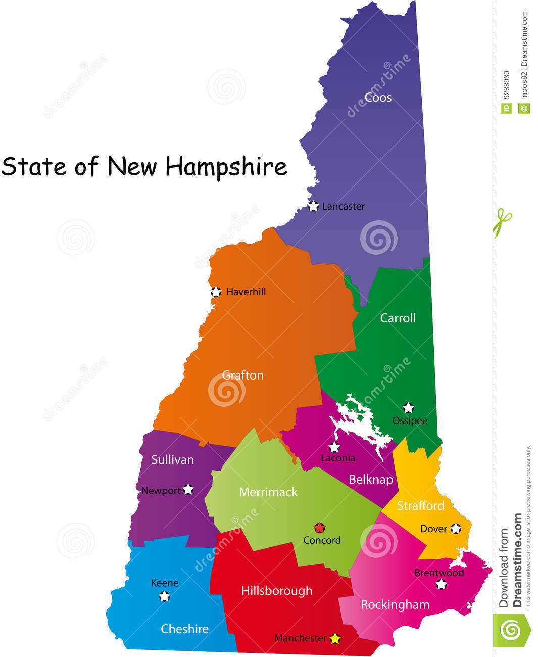 Map Of New Hampshire State Stock Vector Image Of Atlas
