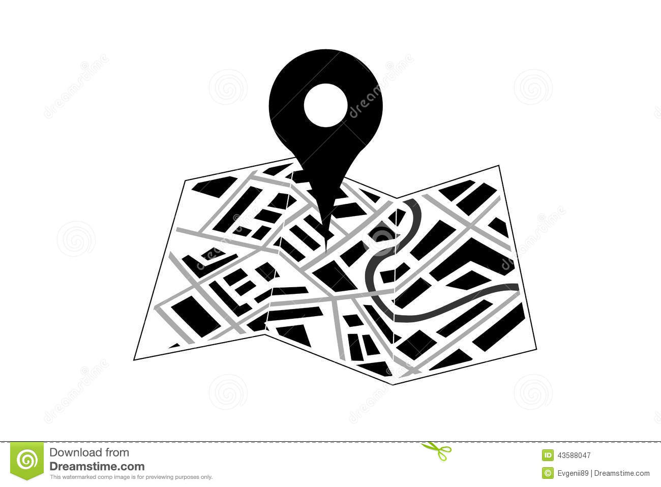 Map With Pin Icon Stock Vector