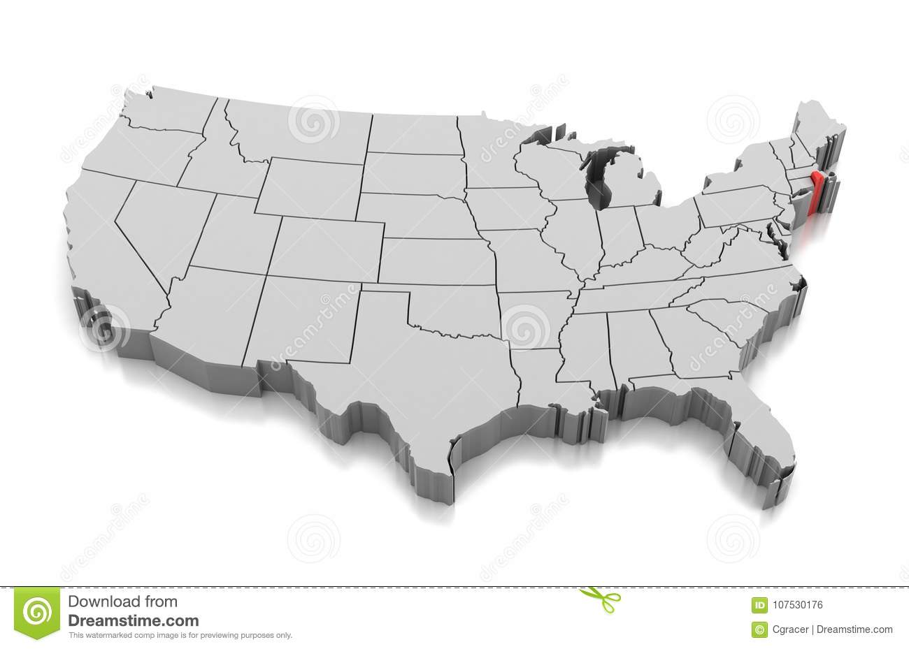 Rhode island was the 13th state in the usa; Map Of Rhode Island State Usa Stock Illustration Illustration Of American Country 107530176