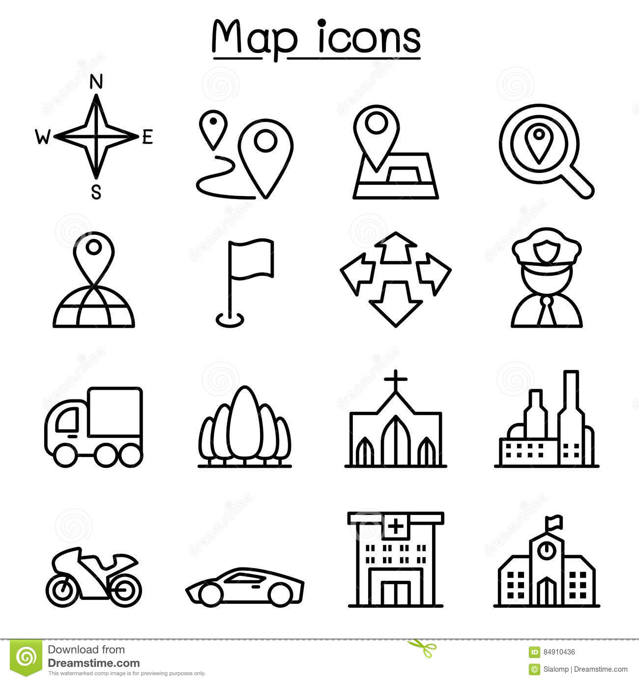 Map Amp Symbol Icon Set In Thin Line Style Stock Illustration