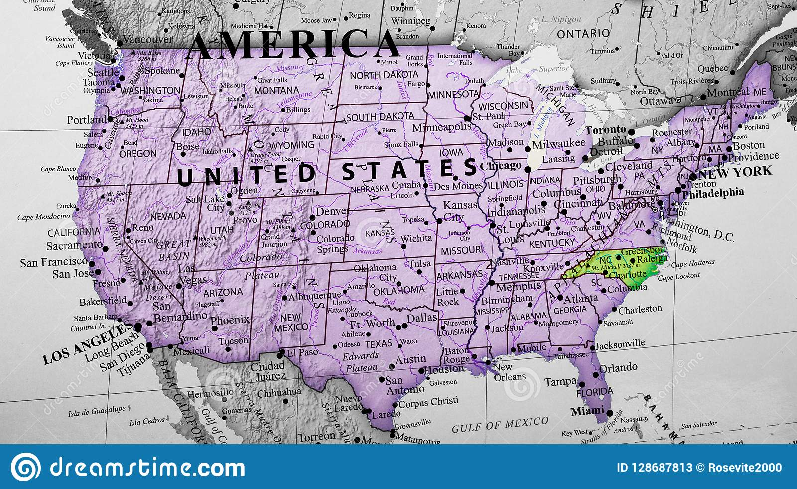 Map Of United States Of America Highlighting North