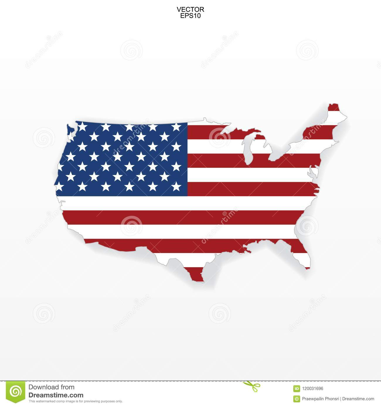 Map Of The Usa With American Flag Pattern Outline Of