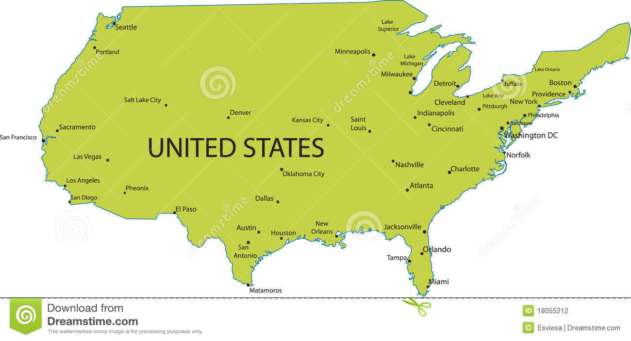 Map Of Usa With Major Cities Stock Vector Illustration Of Political States 18055212