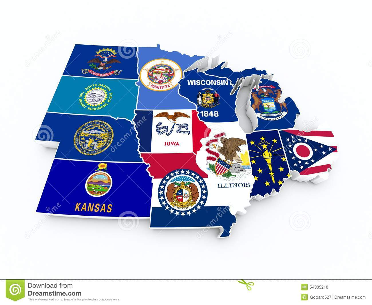 Map Usa Midwest Region New Stock Illustration
