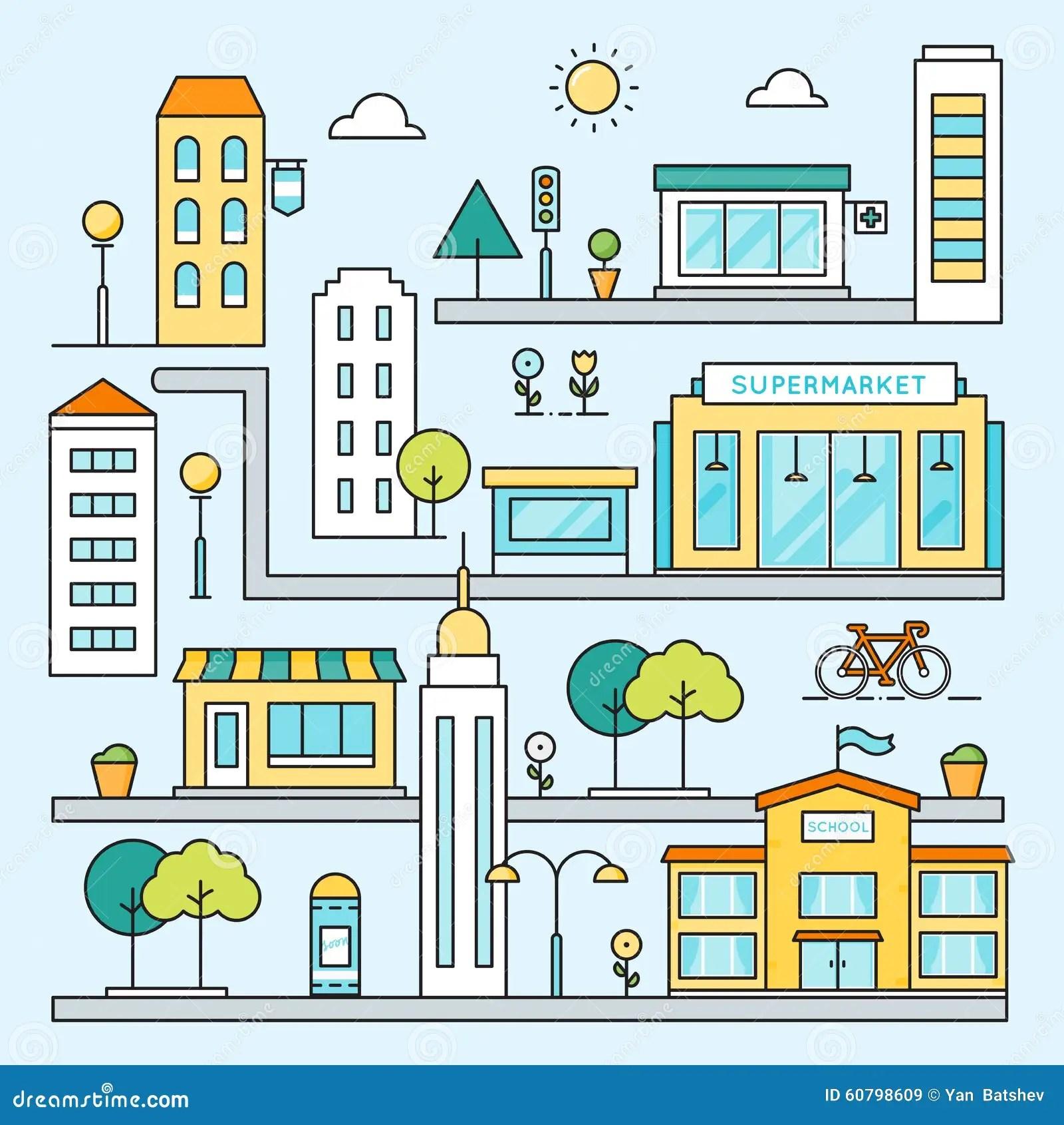 Mapa Da Cidade Com Ruas Construcoes E Ilustracao Colorida Do Esboco Do Vetor Dos Lugares