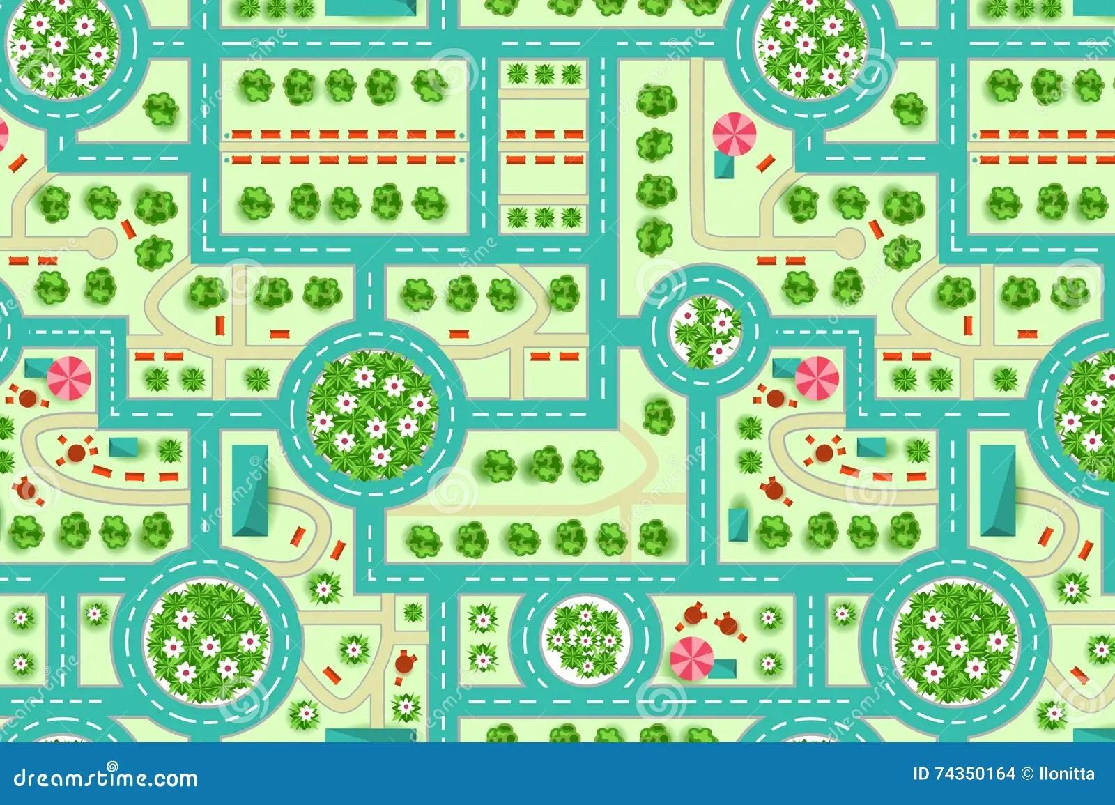 Mapa De Una Vision Superior Desde La Ciudad Ilustracion
