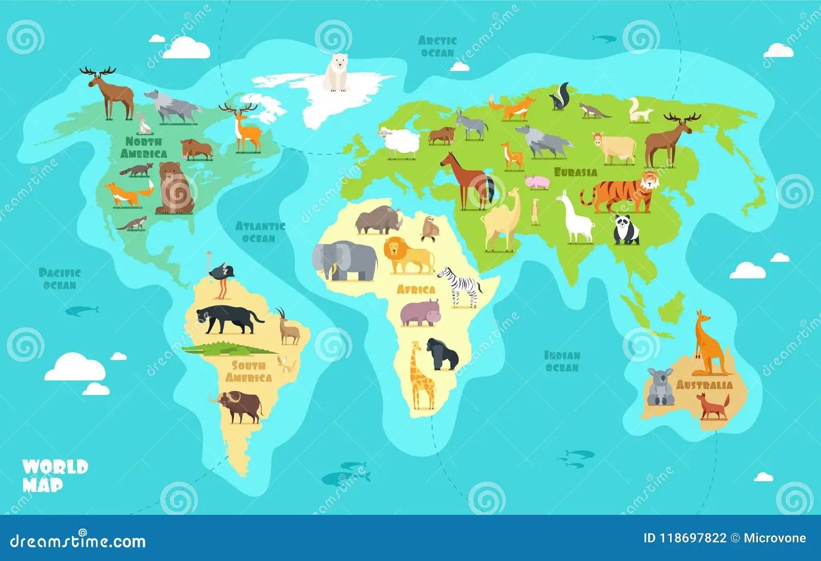 Mapa Del Mundo De La Historieta Con Los Animales Los Oceanos Y Los Continentes Geografia