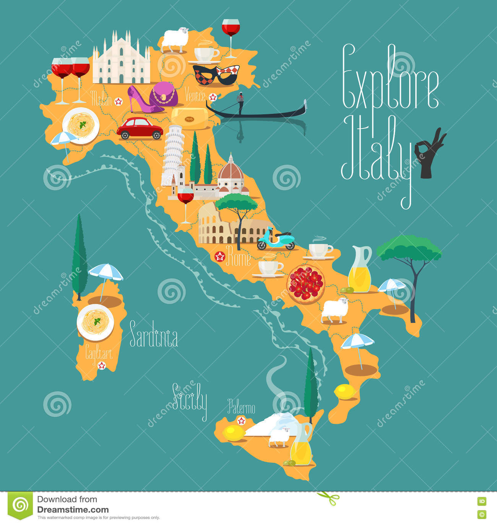 Mapa W Ochy Wektorowa Ilustracja Projekt Ikony Z W Oskimi