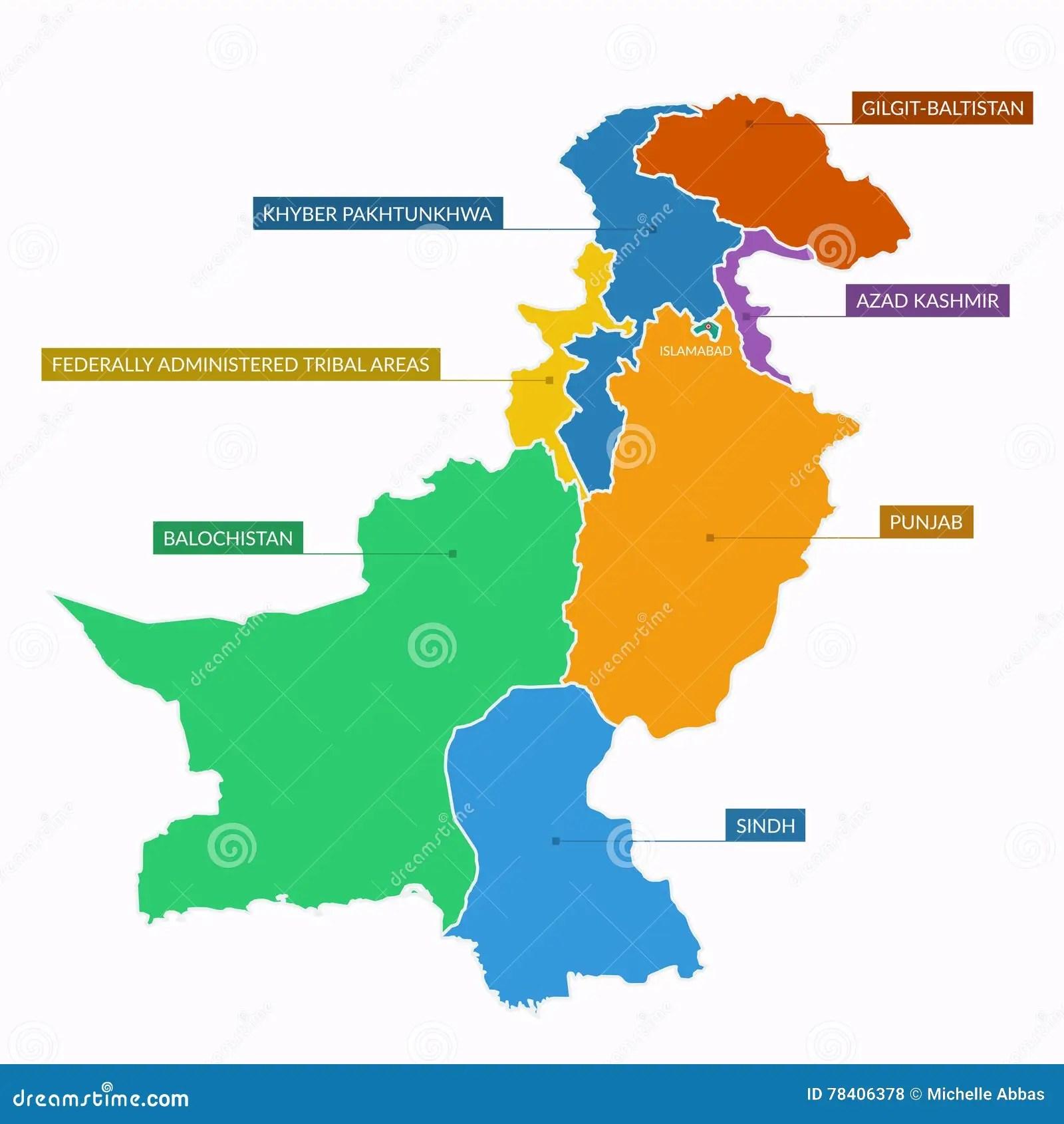 Mappa Del Pakistan Piana Illustrazione Di Stock